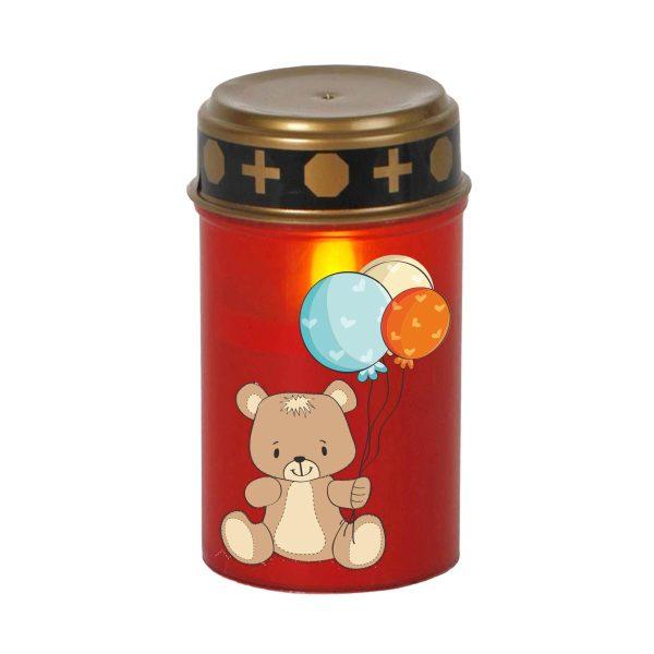 LED Grablicht Kerze Klein Sternenkind Bär mit Ballons