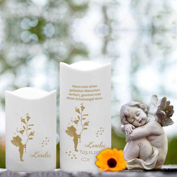 LED Kunststoff Kerze Weiß für Sternenkind Goldener Engel