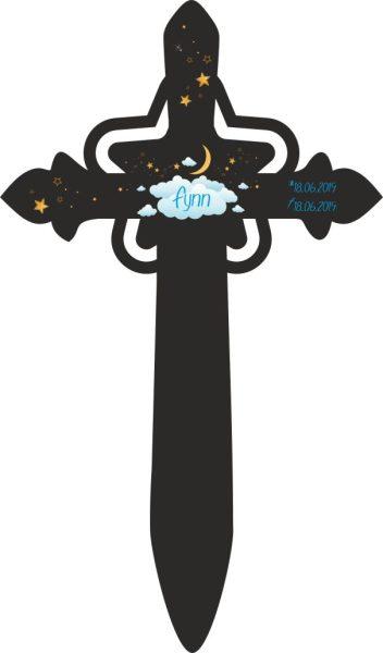 Grabkreuz mit Stern für Sternenkind Wolkenhimmel