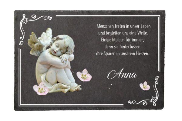 Gedenktafel Schieferplatte Schlafender Engel