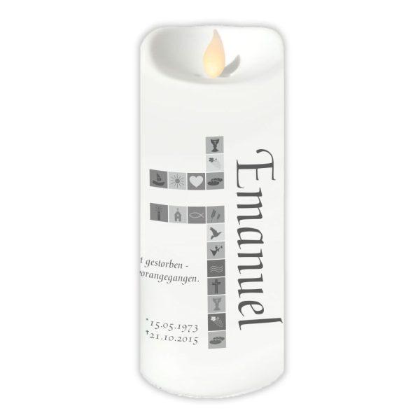 LED Kerze Twinkle Trauerkerze Kreuz mit Symbolen