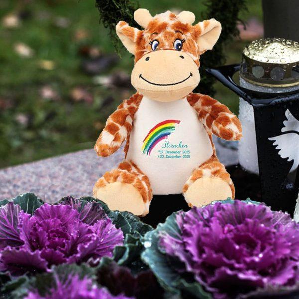 Plüschtier Kuscheltier Giraffe für Sternenkind mit Regenbogen