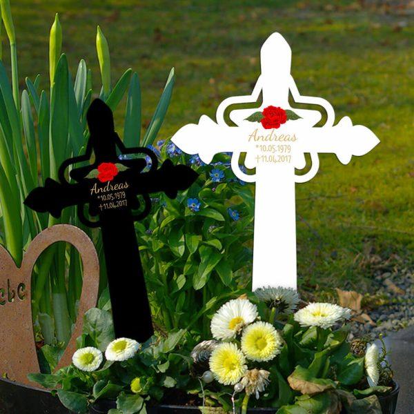 Grabkreuz mit Stern Rote Rose