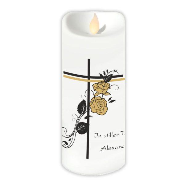 LED Kerzen Twinkle Trauerkerze Kreuz mit Rosen
