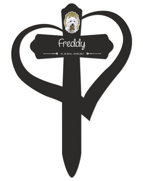 Grabkreuz mit Herz fürs Tier mit Foto