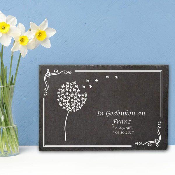 Gedenktafel Schieferplatte Pusteblume