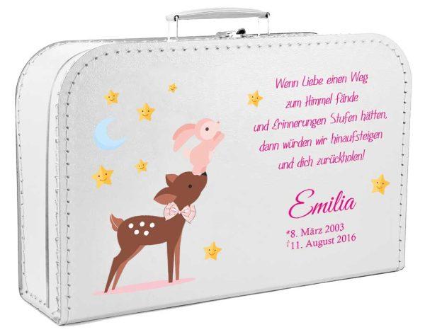 Koffer fürs Sternenkind Reh mit Hase in rosa