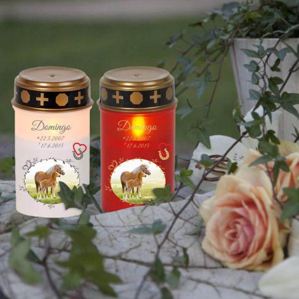 LED Grablicht Kerze Klein für Tiere mit Foto im Schmetterlingrahmen und Hufeisen