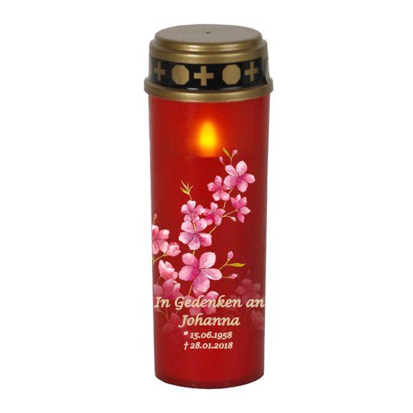 LED Grablicht Kerze Groß Kirschblüten