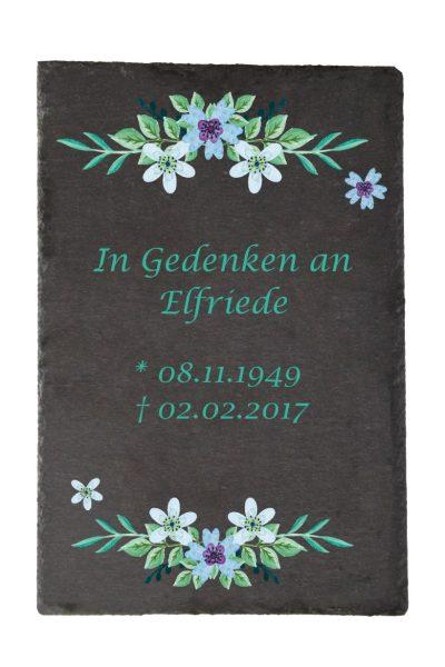 Gedenktafel Schieferplatte Watercolor Blumen