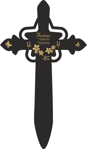 Grabkreuz mit Stern Blüten