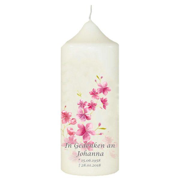 Wachskerze zum Gedenken Kirschblüten