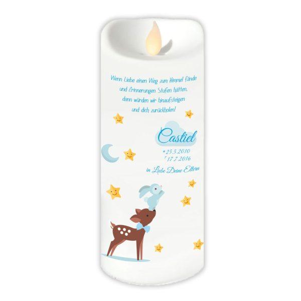 LED Kerze Twinkle Sternenkind Reh mit Hase in blau