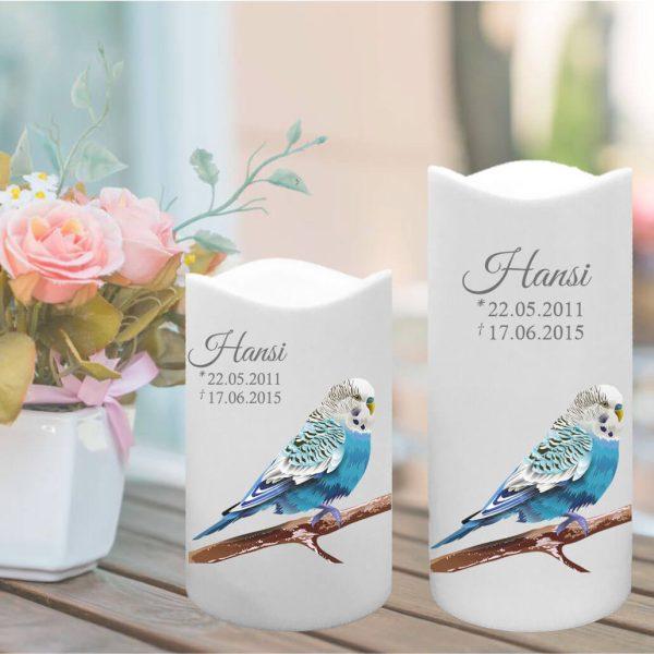 LED Kunststoff Kerze Weiß für Tiere Blauer Vogel