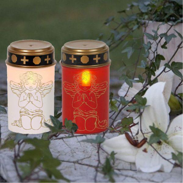 LED Grablicht Kerze Klein Betender Engel