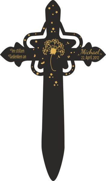 Grabkreuz mit Stern Pusteblume