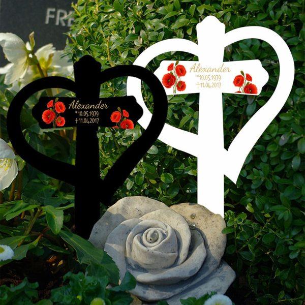 Grabkreuz mit Herz Mohnblumen