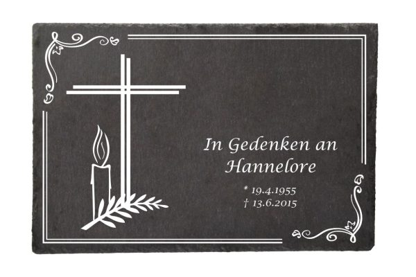 Gedenktafel Schieferplatte Kreuz mit Kerze