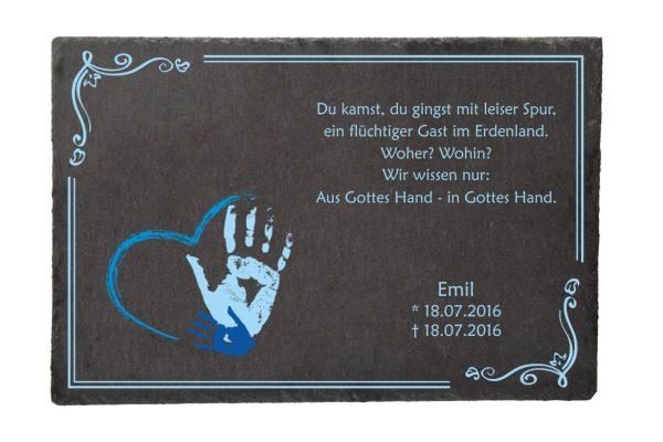 Gedenktafel Sternenkind Handabdruck in blau