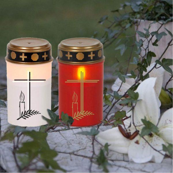 LED Grablicht Kerze Klein Kreuz mit Kerze