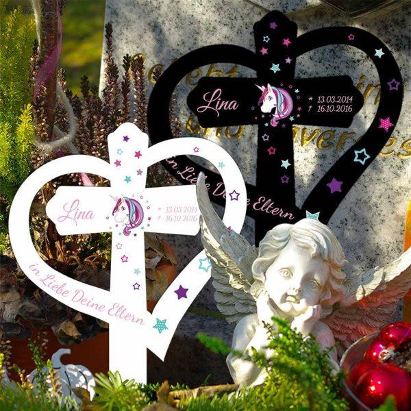 Grabkreuz mit Herz für Sternenkind Einhorn Beauty