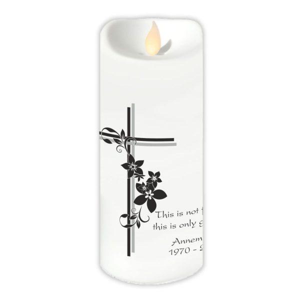 LED Kerze Twinkle Trauerkerze Kreuz mit Blumen