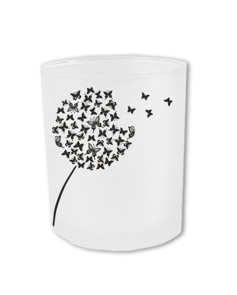 Teelichthalter zum Gedenken mit Pusteblumen und persönlichen Daten