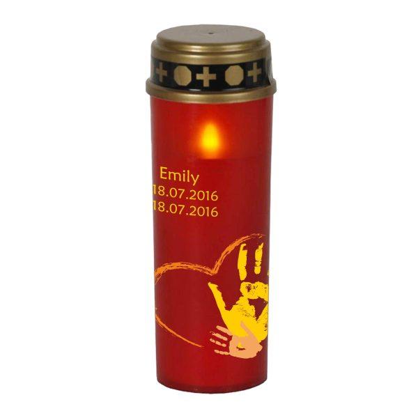 LED Grablicht Kerze Groß Sternenkind Handabdruck in gelb