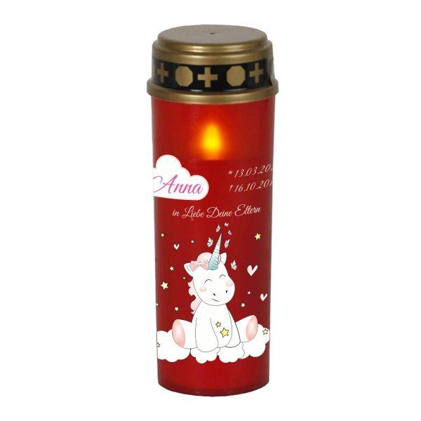 LED Grablicht Kerze Groß Sternenkind Einhorn Cutie