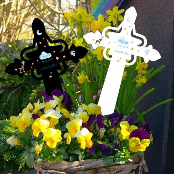 Grabkreuz mit Stern für Sternenkind Reh mit Hase in blau