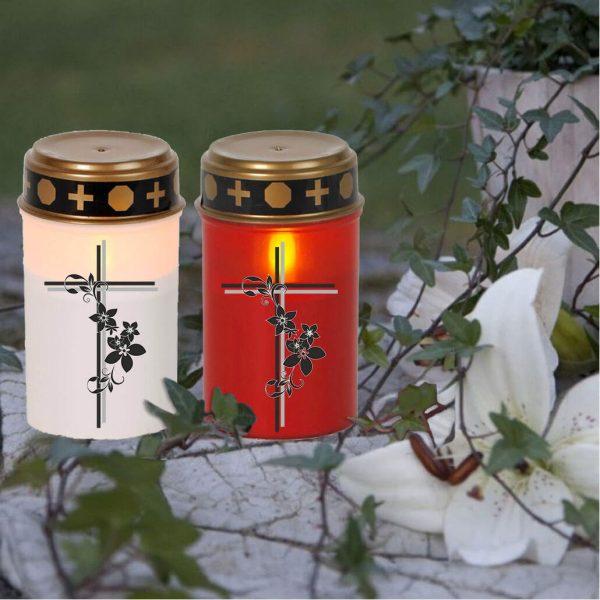 LED Grablicht Kerze Klein Kreuz mit Blumen