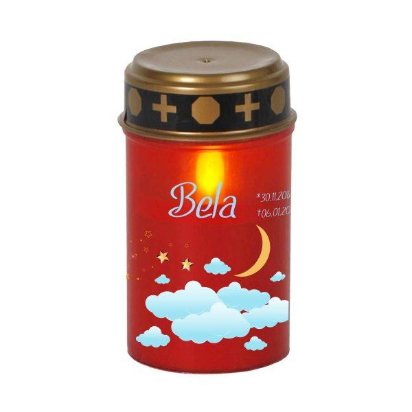 LED Grablicht Kerze Klein Sternenkind Wolkenhimmel