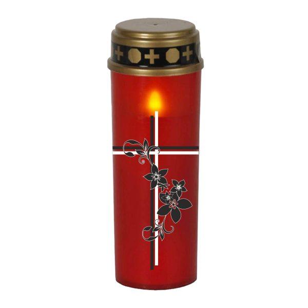 LED Grablicht Kerze Groß Kreuz mit Blumen