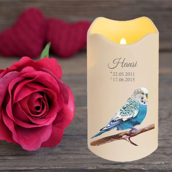 LED Kerze Trauerkerze aus Kunststoff für Tiere Blauer Vogel