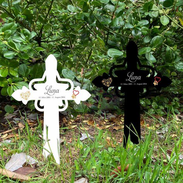 Grabkreuz mit Stern fürs Tier mit Herz und Pfoten