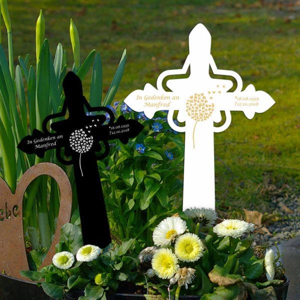 Grabkreuz mit Stern Pusteblume Schmetterlinge