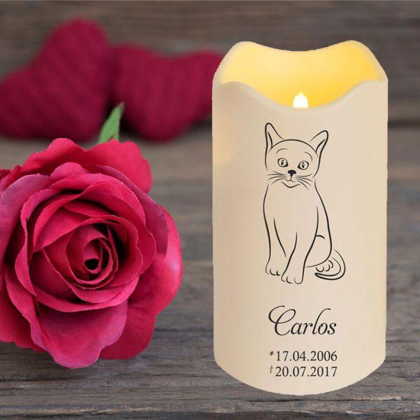 LED Kerze Trauerkerze aus Kunststoff für Tiere Katze Silhouette