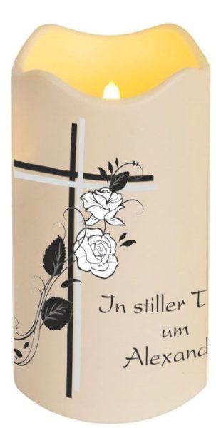 LED Kerze Trauerkerze aus Kunststoff Kreuz mit Rosen