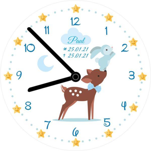 Wanduhr für Sternenkind mit Zahlen Reh und Hase in blau