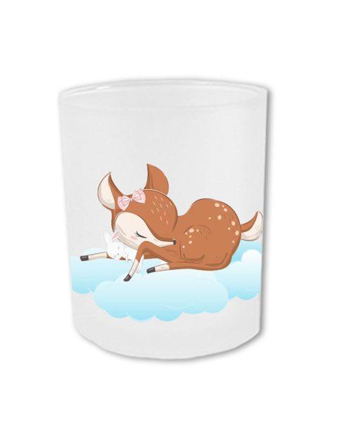 Teelichthalter fürs Sternenkind schlafendes Reh mit Hase auf Wolke
