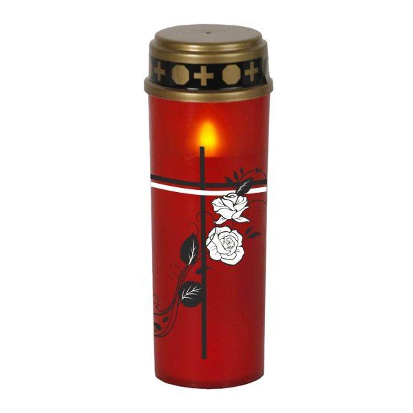 LED Grablicht Kerze Groß Kreuz mit Rosen
