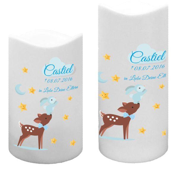 LED Kunststoff Kerze Weiß für Sternenkind Reh mit Hase in blau