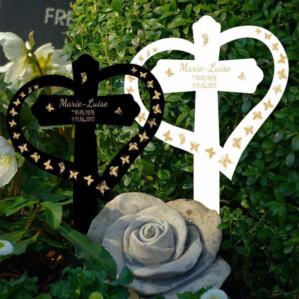 Grabkreuz mit Herz Schmetterlinge