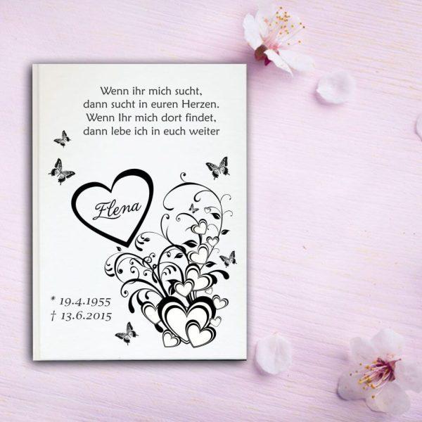 Fotoalbum Erinnerungsbuch Herzen mit Schmetterlingen