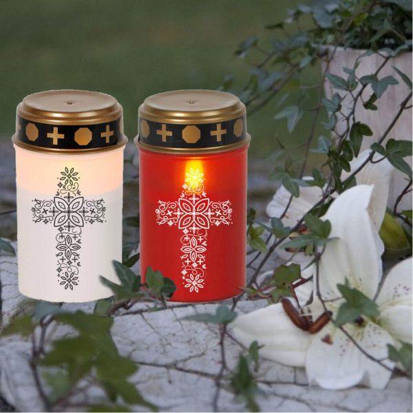 LED Grablicht Kerze Klein Kreuz aus Ornamenten