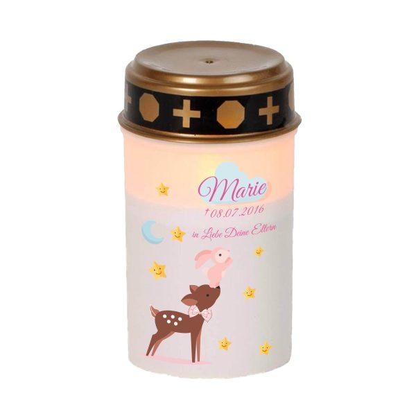 LED Grablicht Kerze Klein Sternenkind Reh mit Hase in rosa