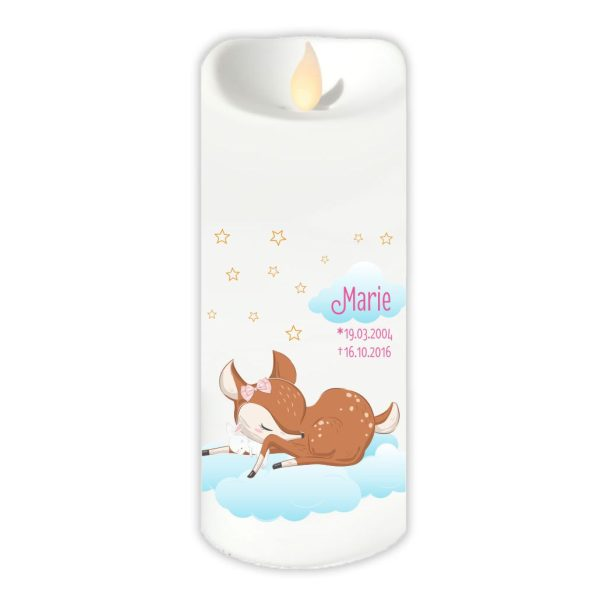 LED Kerze Twinkle Sternenkind schlafendes Reh mit Hase