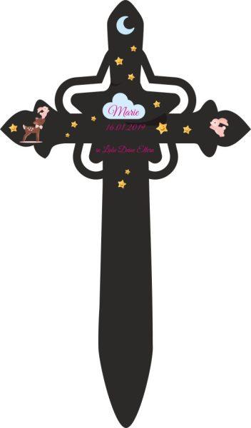 Grabkreuz mit Stern für Sternenkind Reh mit Hase in rosa