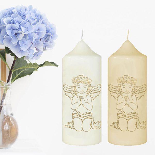 Wachskerze zum Gedenken Betender Engel