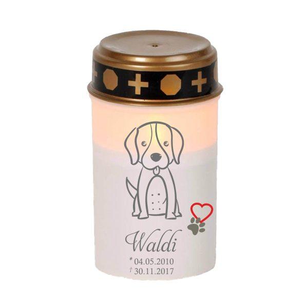 LED Grablicht Kerze Klein für Tiere Hund Silhouette